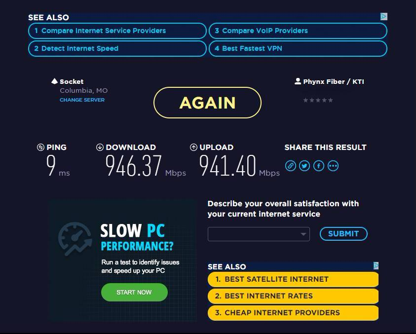 A recent Internet speed test performed by one of our customers